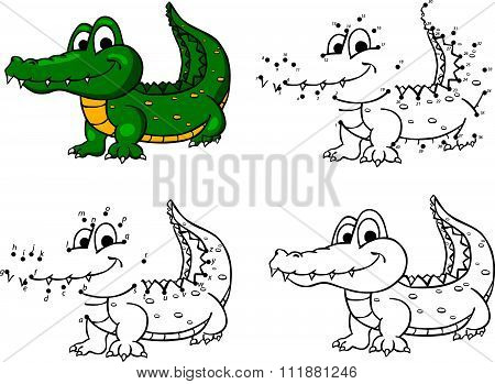 Cartoon Crocodile. Vector Illustration. Coloring And Dot To Dot Game For Kids