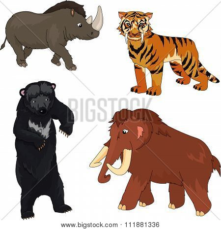Set Of Mammoth, Prehistoric Bear, Saber-toothed Tiger And Rhino