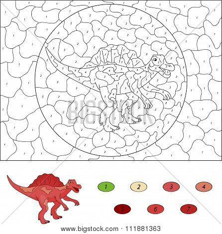 Color By Number Educational Game For Kids. Cartoon Spinosaurus. Vector Illustration
