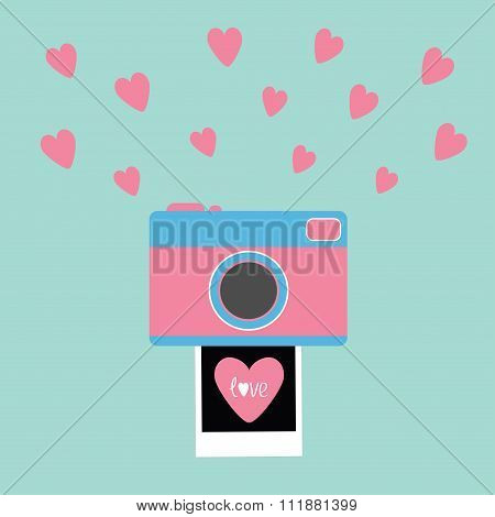 Camera Instant Photo Flat Design Style. Pink Hearts. Love Card. Blue Background