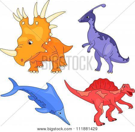 Set Of Palaeosaurus, Styracosaurus, Spinosaurus And Ichthyosaur