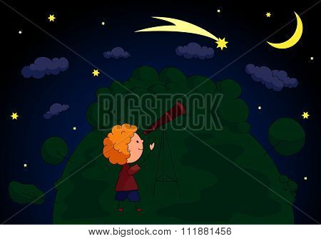 A Boy With A Telescope Looking At The Comet In The Night Sky With Stars And Moon