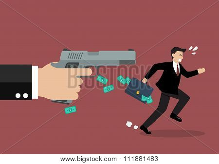Businessman Running Away From A Hand Holding Gun