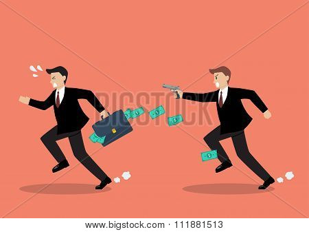 Businessman Running Away From A Man Holding Gun