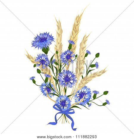 Beautiful Bouquet Of Cornflowers And Wheat Spikelets, Tied With Silk Ribbon