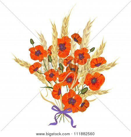 Beautiful Bouquet Of Poppies And Wheat Spikelets, Tied With Silk Ribbon