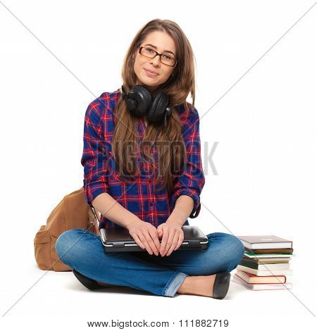 Portrait Of Happy Female Student Sitting Isolated.