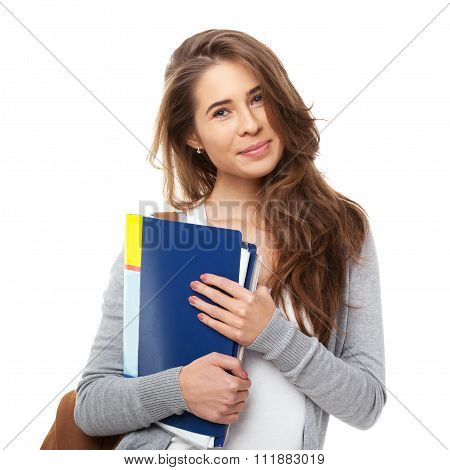 Young Happy Student Isolated On White.