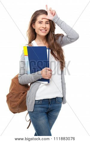 Happy Student Showing L Sign Isolated.