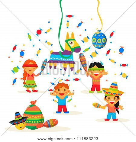 Children celebrate Posada, breaking the traditional donkey Pinata play vector