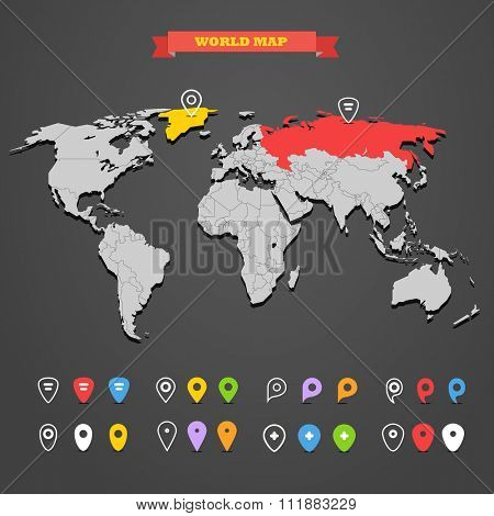 World map infographic template with different markers. All countries are selectable