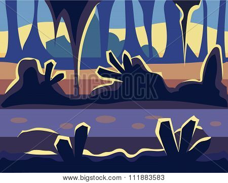 Seamless cartoon nature landscape, unending background with soil, trees, mountains and cloudy sky la