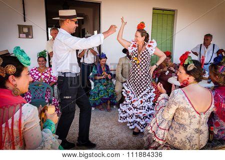 Flamenco Style Dancing At The El Rocio Romería,  2012