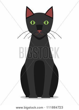 Black Cat Sitting, Isolated
