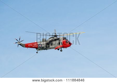 Royal Navy helicopter in flight