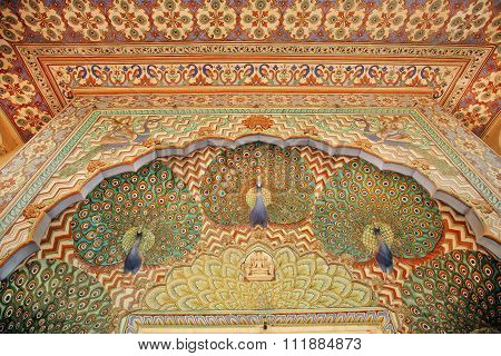 Patterns With Peacocks On The Beautiful Painted Walls, India