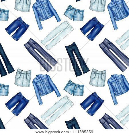 Seamless Pattern - All over - Background with different denim and jeans clothes