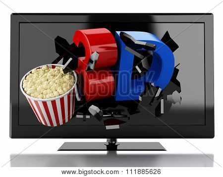3D Tv Led And Popcorn. Cinema Concept