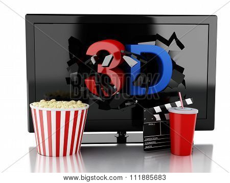 3D Tv Led, Popcorn, Drink And Clapper Board.