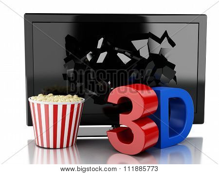3D Tv Led And Popcorn