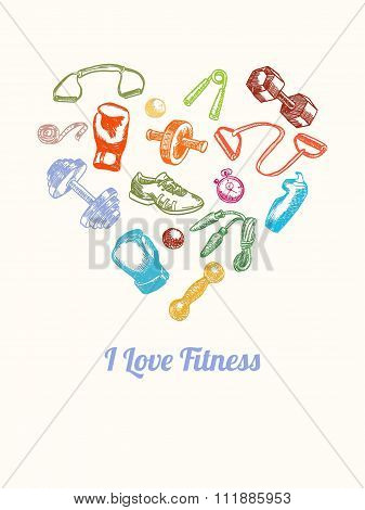 Fitness And Gym Background. Hand Drawn Colorful Icons Set In The Shape Of Heart