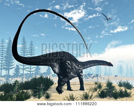 Apatosaurus dinosaur in the desert - 3D render
