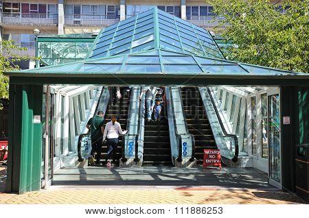 Escalator in shopping precinct, Coventry.