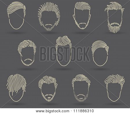 Hand Drawing Men's Hair Style Set