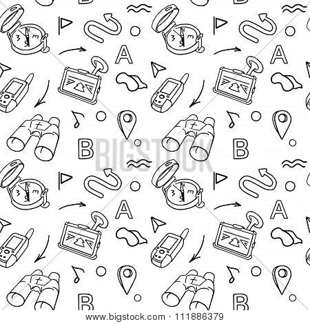 Navigation Hand Drawn Doodles Seamless Pattern With Car Navigator, Binoculars, Compass Vector