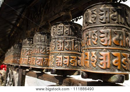 Prayer Wheels In Swayambhunath, Nepal.