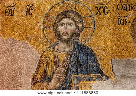 A Byzantine Mosaic Of Christ In The Old Church Hagia Sophia, Istanbul.