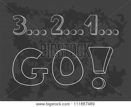 Countdown: 3 2 1 go! Hand drawn vector sketch