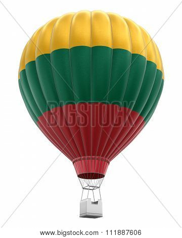 Hot Air Balloon with Lithuanian Flag. Image with clipping path