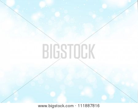 Light Blue Winter Background with a Snow Strip and an Empty Space for a Text Message