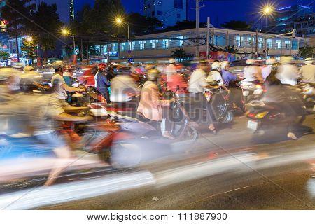Heavy traffic in Ho Chi Minh City, Vietnam