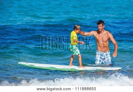 Little boy surfing