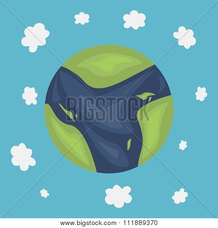 Planet On Sky Background