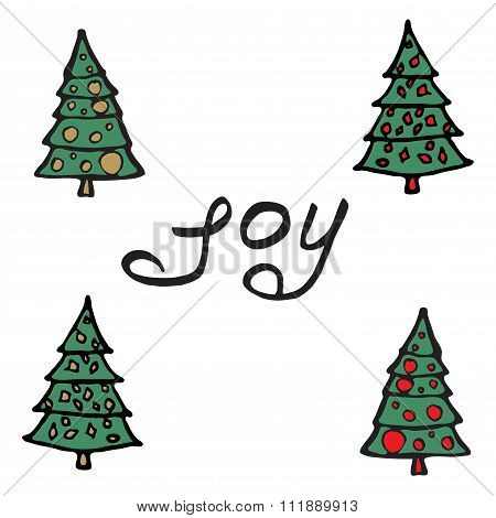 Cartoon fir-tree Greeting card - joy