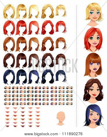 Fashion female avatars. 25 hairstyles, 45 eyes, 30 mouths, 1 head, for multiple combinations. In this image, some previews. Vector file, isolated objects.