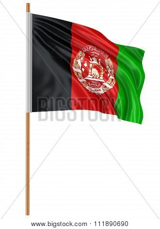 3D Afghani flag with fabric surface texture. White background.