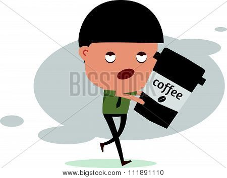 Sleepless Business Man Need Coffee For Energy