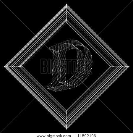 Vector illustration of letter D. Fonts of Mesh polygonal. The structural grid of polygons. Abstract
