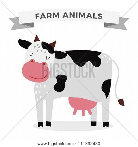 Cute cartoon cow vector illustration. Cartoon cow isolated on white background. Cow, milk, farm pet animal. Vector cow farm animal. Cute cow vector illustration. Cow vector isolated