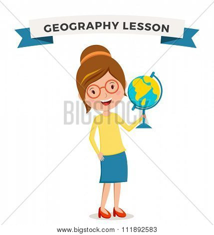 School geography lessons woman teacher illustration. Geographic teacher school. Teacher holding globe symbol. School teacher vector. Pre-school illustration. School teacher