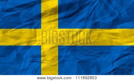 Sweden flag, The Swedish painted on paper texture