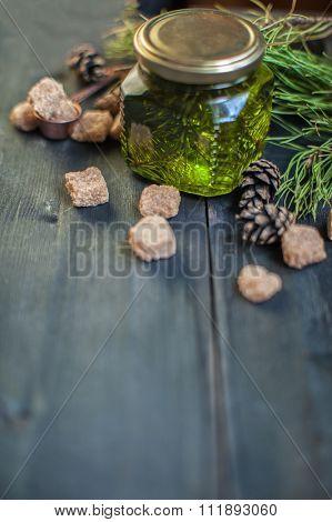 Fir tree bump jam on wooden background