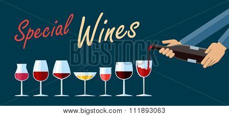 Flat design illustration of various types of wine