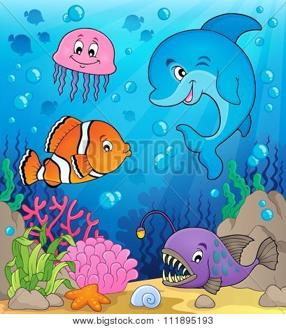Ocean fauna topic image 1 - eps10 vector illustration.