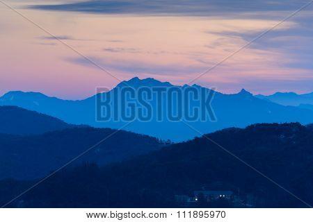 Morning Sunrise And Foggy Of Mountain In Korea