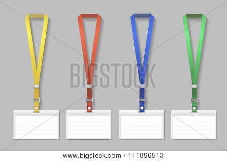 Badge template, name bag holder with lanyard set. Vector illustration